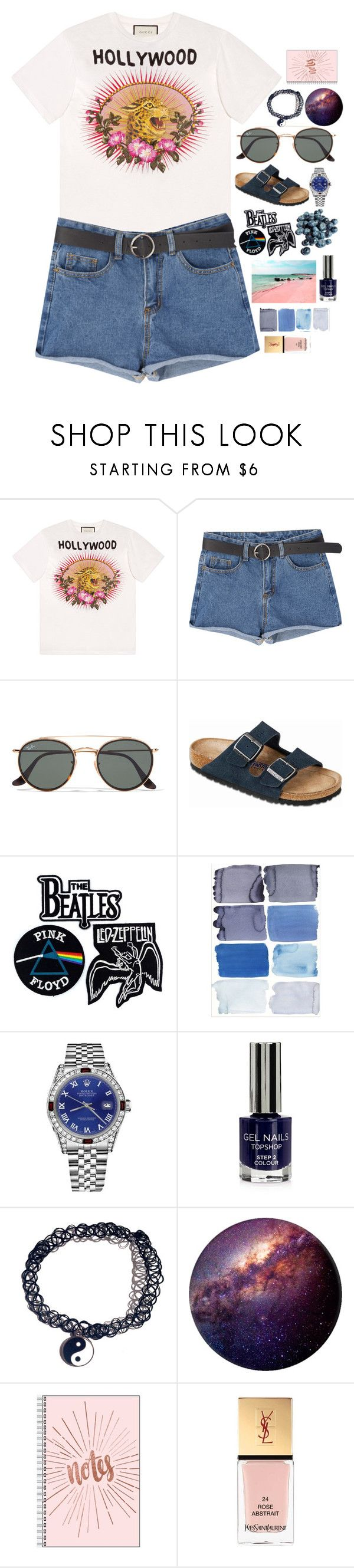 """never let me down again"" by divergirl ❤ liked on Polyvore featuring Gucci, Ray-Ban, Birkenstock, Floyd, Rolex, Topshop and Yves Saint Laurent"