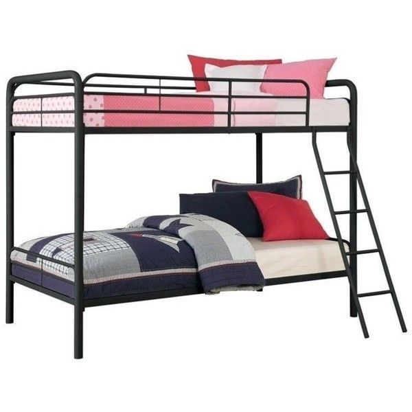 DHP Metal Twin over Twin Bunk Bed ($186) ❤ liked on Polyvore featuring home, children's room, children's furniture and black