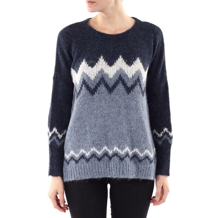 Mønstret (blå) strikkegenser - Alpaca Society fra Alpaca Society. Kult mønster. Hva med å lage en serie med 'inspirert av Missoni'?! Votter, genser, leggvarmere og skjørt.