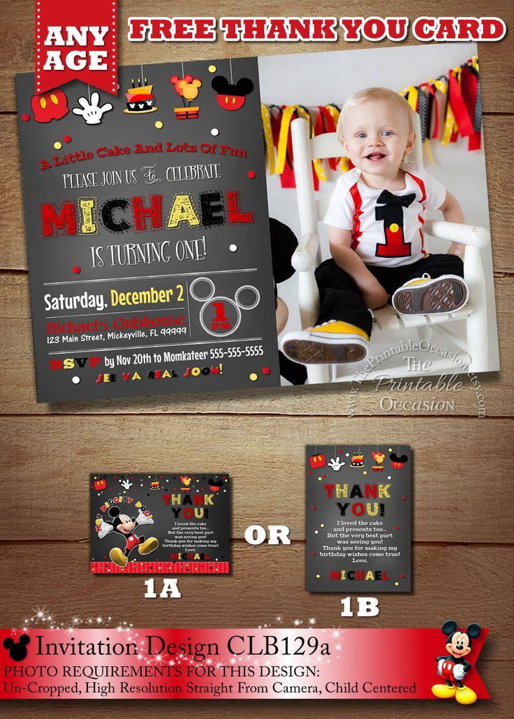 Mickey Mouse Invitation, Mickey Birthday Invitation, Mickey Mouse Clubhouse, Photo Invitation, Printable, Chalkboard, Free Thank You DIY by ThePrintableOccasion on Etsy https://www.etsy.com/listing/170602875/mickey-mouse-invitation-mickey-birthday