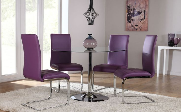 orbit round glass chrome dining table and 4 chairs set