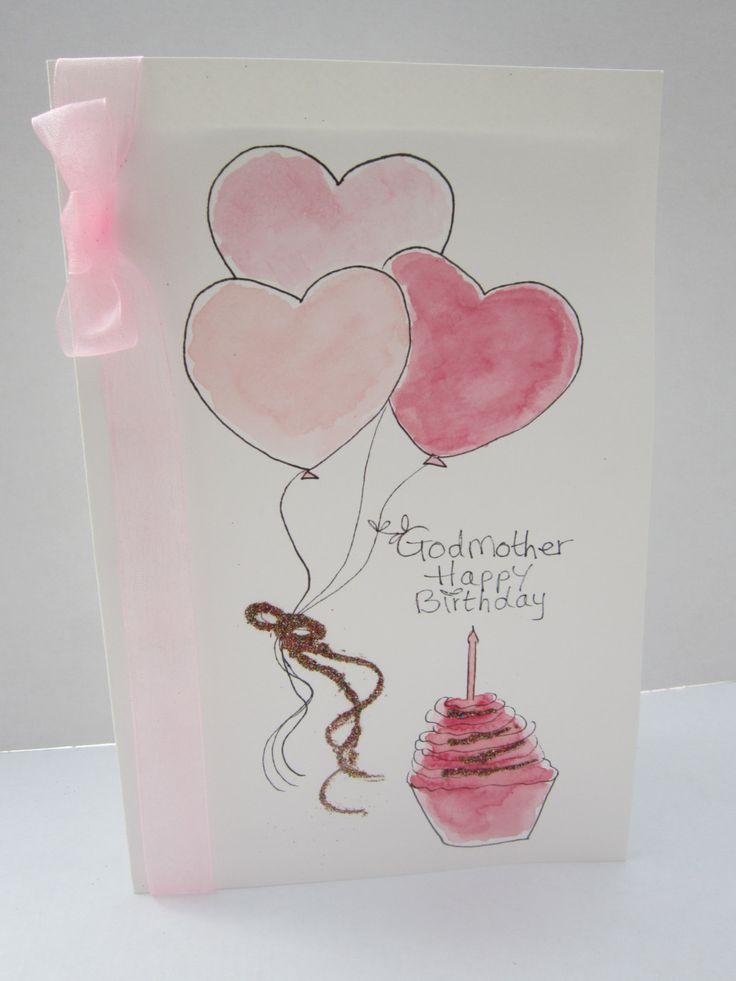 Godmother Birthday Card Godmother Birthday Godmother Etsy Hand Painted Card Birthday Card Craft Paint Cards