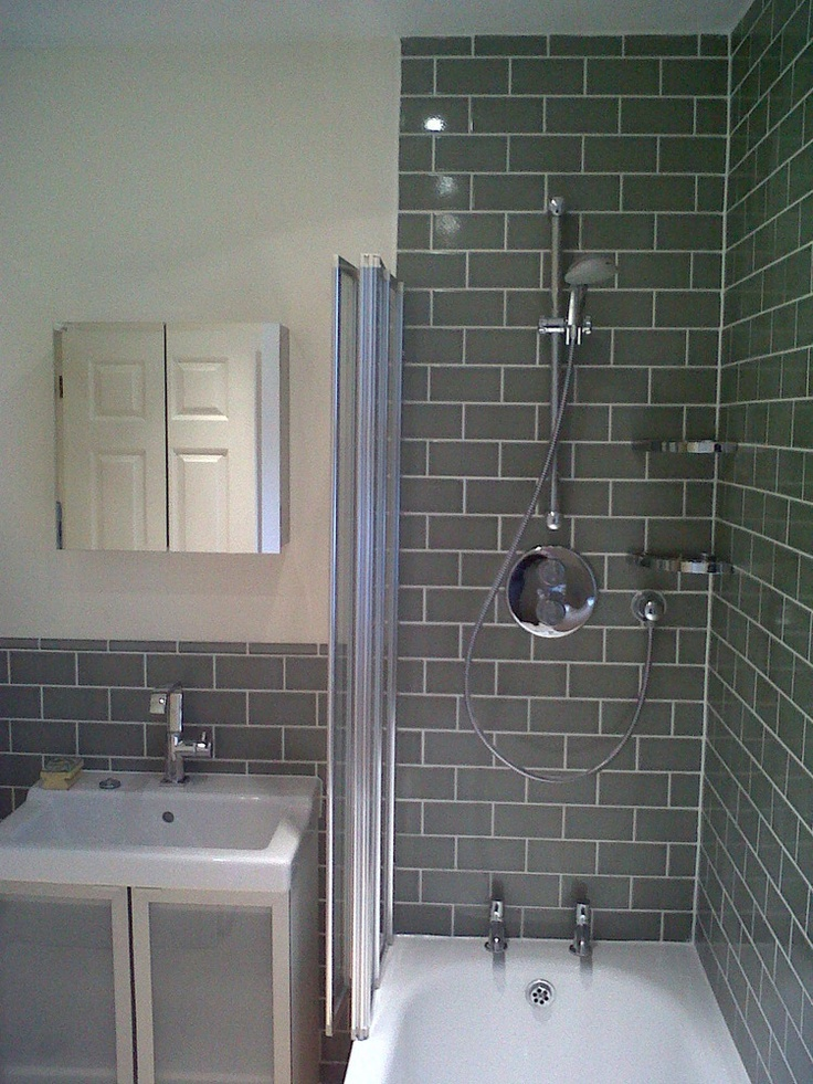 Shower With Grey Brick Tile Effect Future Bathroom