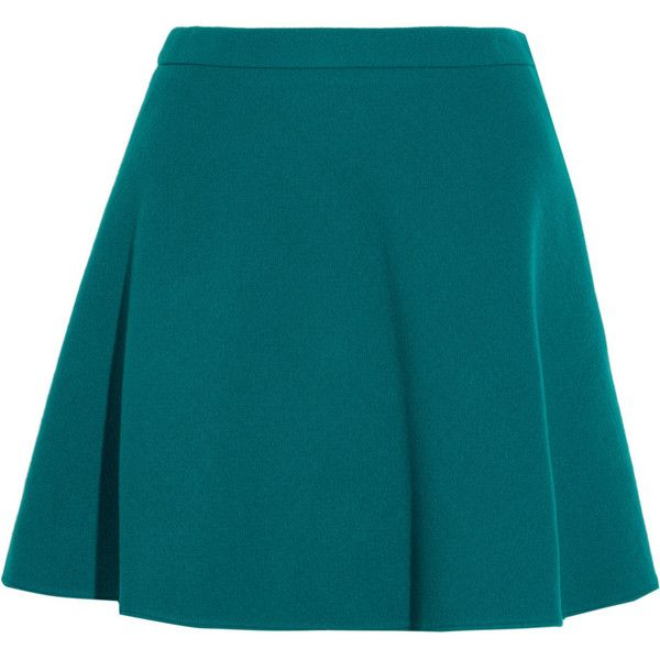 Miu Miu Wool mini skirt (€335) ❤ liked on Polyvore featuring skirts, mini skirts, bottoms, saias, faldas, jade, wool mini skirt, blue mini skirt, short skirts and teal skirt