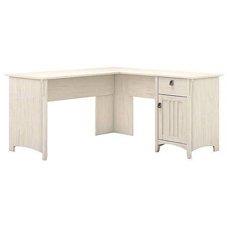 Bush Furniture Salinas L-Shaped Desk With Storage, Antique White