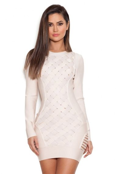 [US $62.00] - Black and beige  2016 New Dress Long sleeve Stretch tight Celebrity Boutique Cocktail party Bandage dress (H0848)