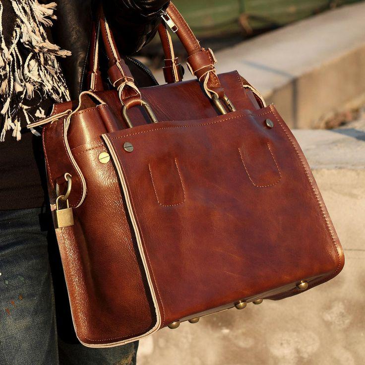 Handmade Leather Women's Briefcase / Handbag Messenger Bag