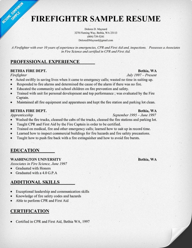 Firefighter Resume Sample (resumecompanion) Resume Samples - sample fire resume