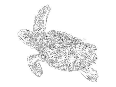 tatuaggio tartaruga: Tartaruga da colorare illustrazione del libro di vettore. Antistress colorare per adulti. Vettoriali