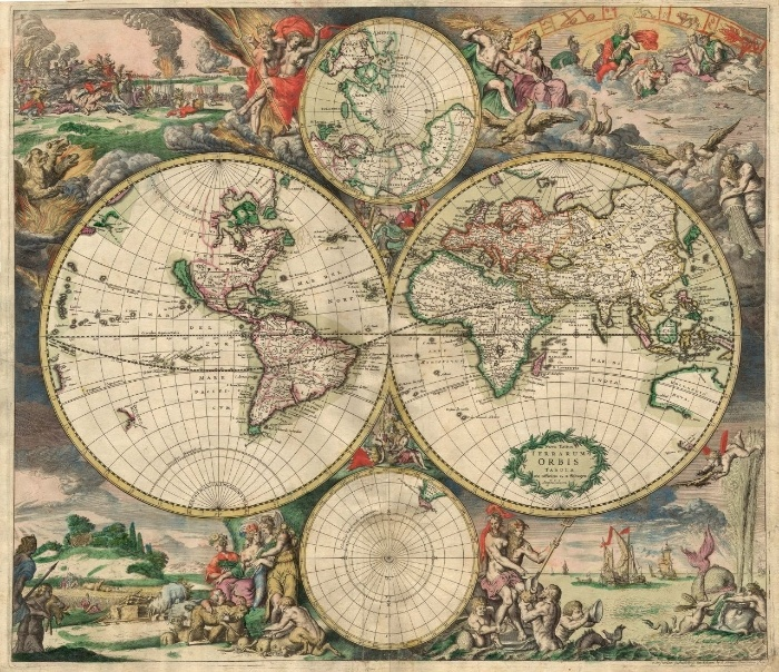 73 best maps images on Pinterest Antique maps, Historical maps and - new world map canvas picture