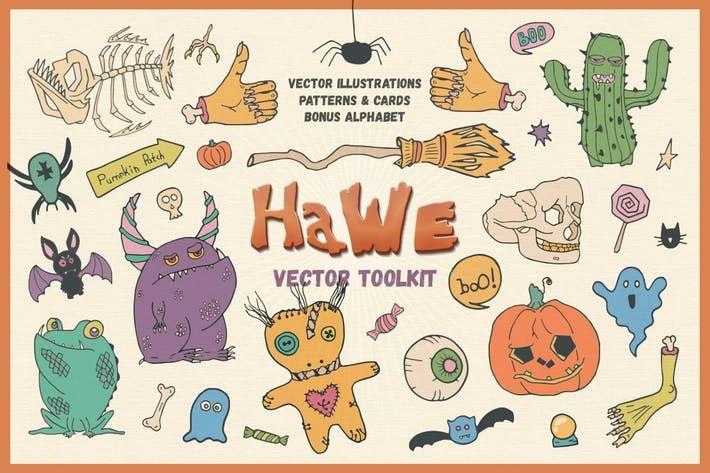 HaWe: Halloween Vector Toolkit #october #seamless  • Download here → http://1.envato.market/c/97450/298927/4662?u=https://elements.envato.com/hawe-halloween-vector-toolkit-ENPNPH