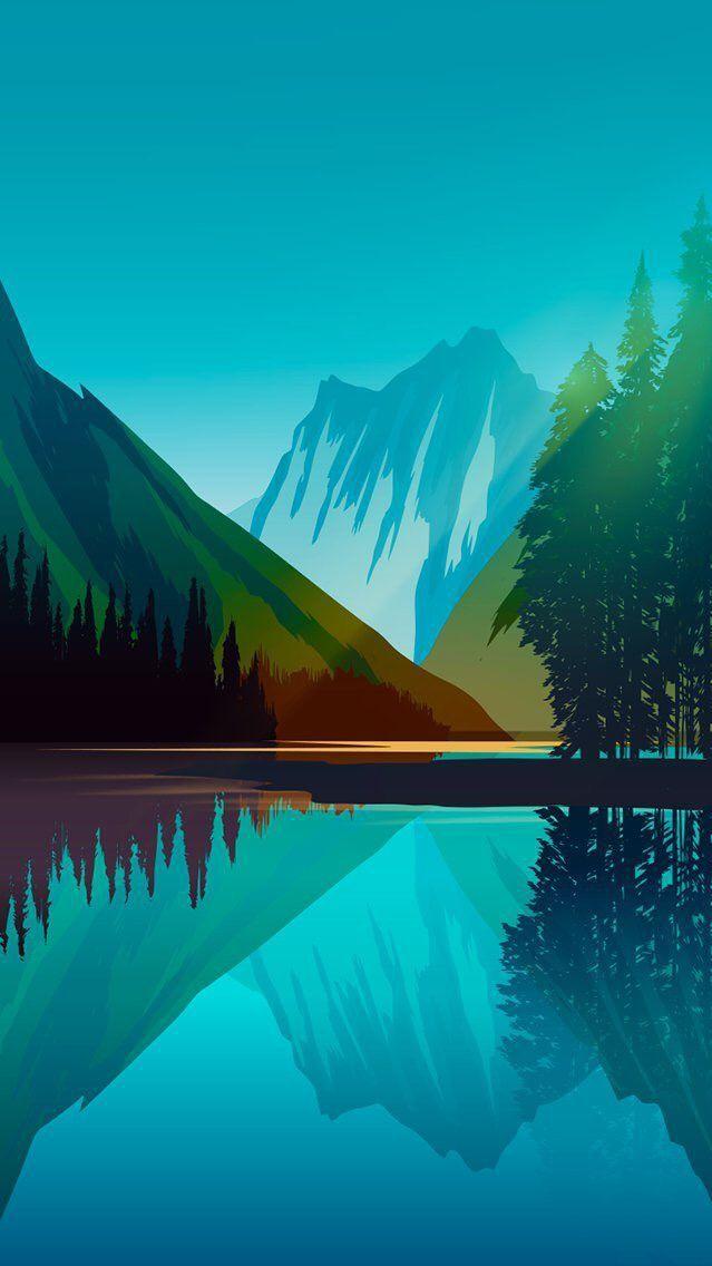 Nature Blue Lake Art Iphone Wallpaper Lake Art Minimalist Wallpaper Nature Wallpaper