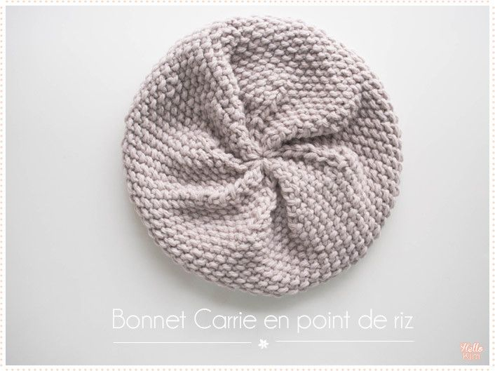 Tricot Le bonnet Carrie point de riz (tuto pdf)