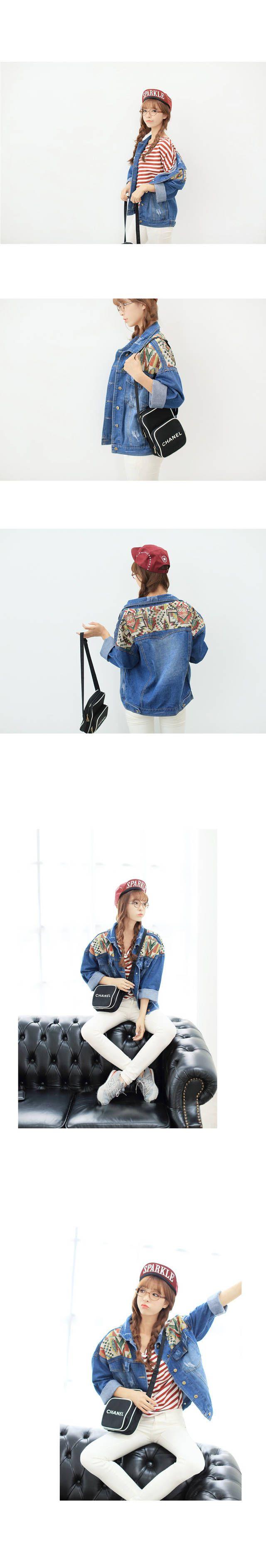 Корейский институт по делам национальностей судоходных сладкий стиль ретро цвет тотем вышивка шить свободные рукава летучая мышь джинсовую к ...