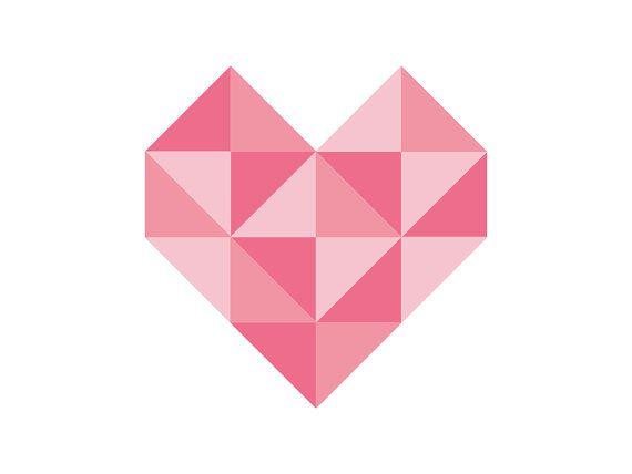 Geometric Heart Wall Art Pink- DIY Printable - Heart Print - Instant Download - Affordable - Nursery Wall Art - Decor