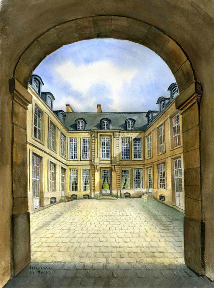L'hôtel de Guénégaud, rue des Archives à Paris. cette aquarelle m'a été commandée par la Fondation du musée de la chasse et de la nature. Elle fait partie des collections de ce lieu.