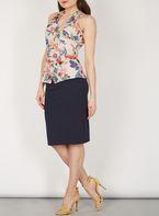 Womens *Feverfish Navy Floral Peplum Dress- Navy