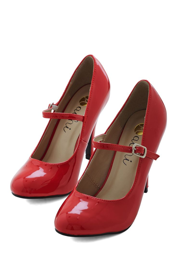Patent Office Heel in Ruby - Red, Solid, Buckles, Party, Work, Casual, Variation, High, Faux Leather, 60s, Best Seller, Girls Night Out, Good, Vintage Reserve