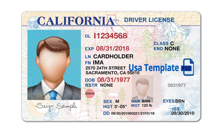 California driver license template high quality driving