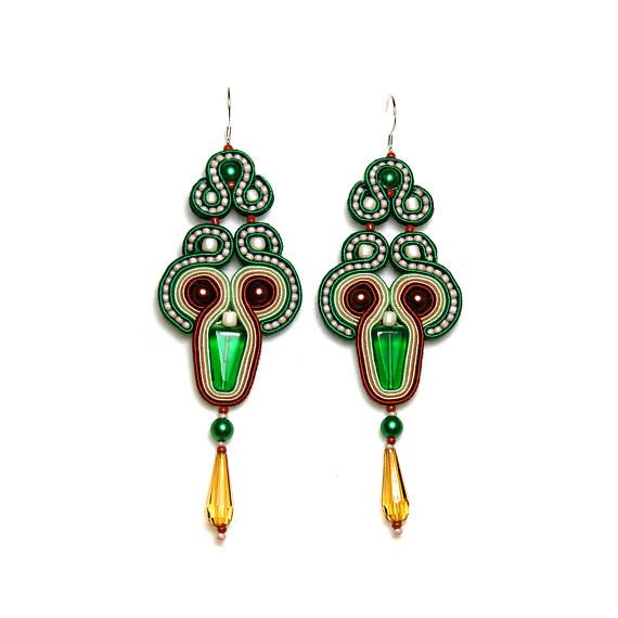 Soutache earrings green brown beige jewelry handmade shop gift