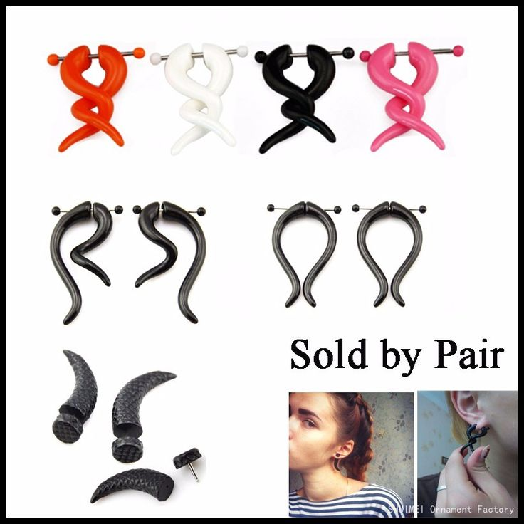 $1.00 Pair Acrylic Fake Cheater Twist Spiral Ear Taper Gauges Piercing Ear Expander Earring Tunnel Plugs Body Jewelry