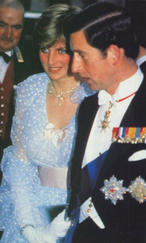 June 11, 1981: Prince Charles & his fiance, Lady Diana Spencer at the banquet given at Claridges for King Khalid of Saudi Arabia.