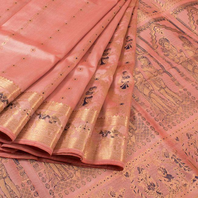Handwoven Peach Swarnachari Fine Silk & Fine Zari Saree With Dancing Doll Motifs 10018041 - AVISHYA.COM