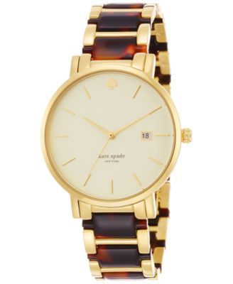 kate spade new york Women's Gramercy Grand Tortoise and Gold-Tone Stainless Steel Bracelet Watch 38mm 1YRU0703