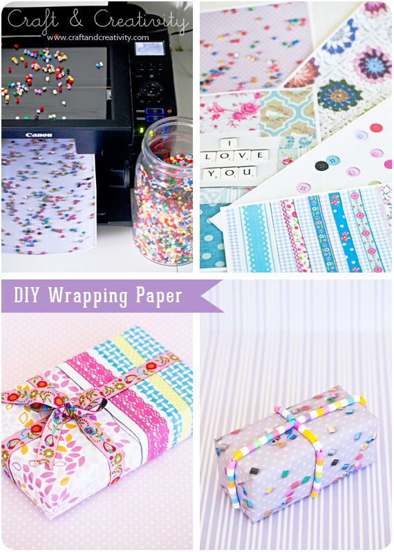 DIY Wrapping Paper by putting pretty things on a copier and printing them out. How fun!
