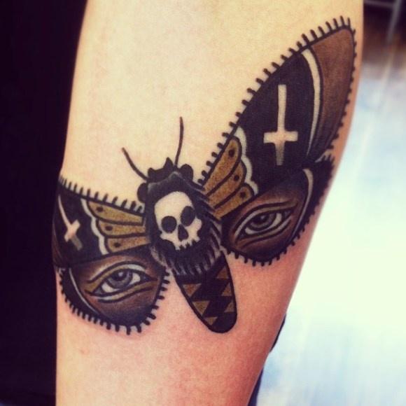 Traditional Moth Tattoo