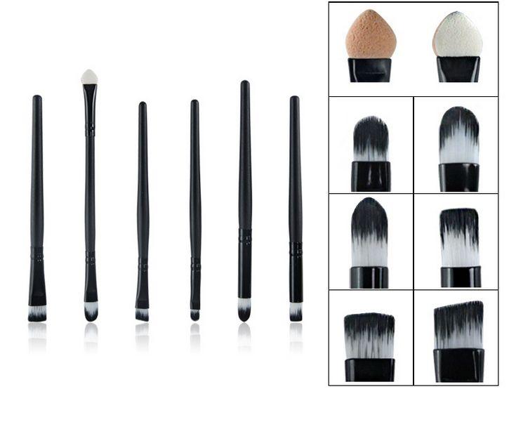 6 Pcs Pony Hair Eyeshadow Brush Makeup Eye Brushes Sets Kits Professional Make up Brushes Black Cosmeitc Tools Kit Maquiagem