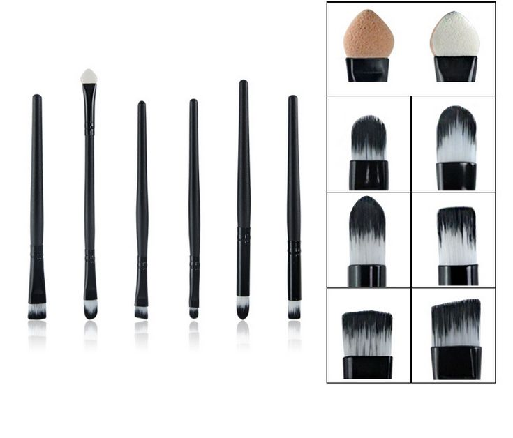 6 PCS/Set Makeup Eye Brush Set Professional Eyeshadow Smoky Eyes Brushes Tools Kit Make Up Protable Eye Shadow Cosmetics Stick