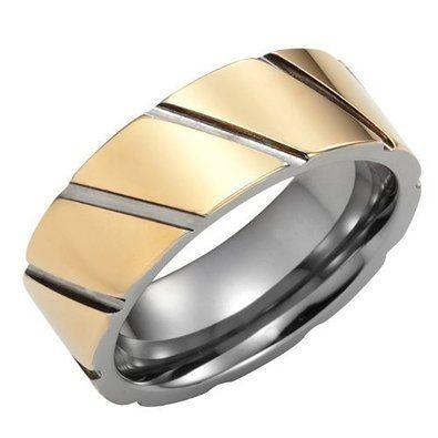 R&B Joyas - Alianza hombre, elegantes bandas doradas, tungsteno, anillo 8mm, talla 14, color plateado / oro: Amazon.es: Joyería