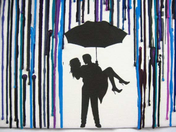 Custom Handmade Encaustic Wax Painting - Melted Crayon Art - Couple Under Umbrella in The Rain by FembyDesign, $52.99
