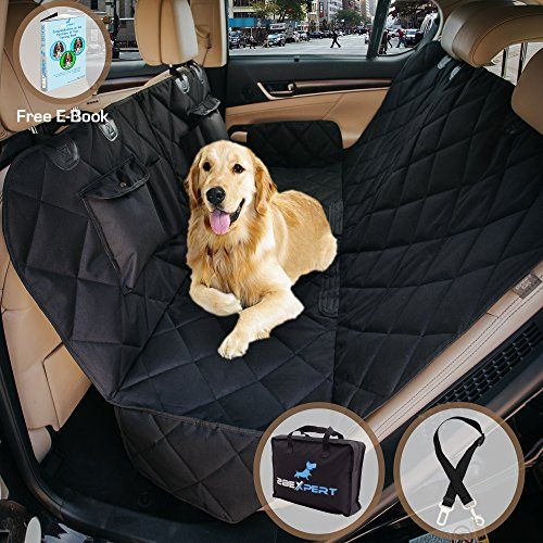 Dog Hammock Seat Cover for Cars/ SUV/ Trucks, Luxury Quilted Panels, Convertible with Extra Side Flaps, Machine Washable, Waterproof   Bonus Dog Seat Belt