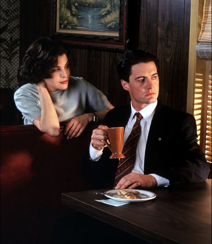 Twin Peaks TV series 1990-1991 Sherilyn Fenn as Audrey Horne, Kyle MacLachlan as Special Agent Dale Cooper.