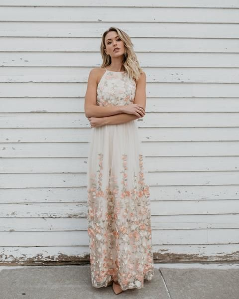 aa4b760be7f Majestic Florals Embroidered Maxi Dress