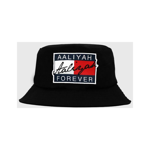 Aaliyah Forever Black Bucket Hat ($8) ❤ liked on Polyvore featuring accessories, hats, bucket hats, fisherman hat, fishing hat and bucket hat
