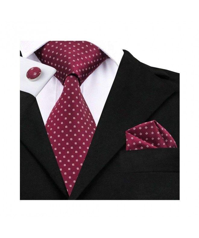 Formal Wide Necktie Handkerchief Set Silk Stripe Tie with Gift Box -  Burgundy Dots - CQ186DGZSNQ | Silk necktie set, Necktie set, Mens silk ties