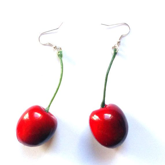 $5.20  Adorable cherry earrings for a fun pin up look.  Lightweight and very realistic faux cherries and stem with a silver earring attachment