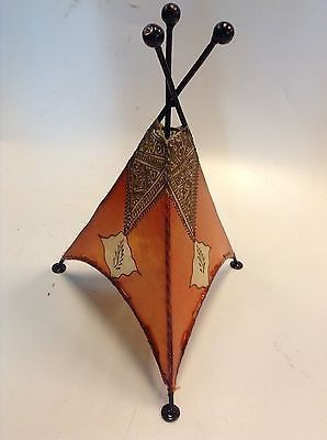Moroccan Henna Lamp Tattooed Goat Skin & Wrougt Iron Eclectic Table Lamp Shade 4