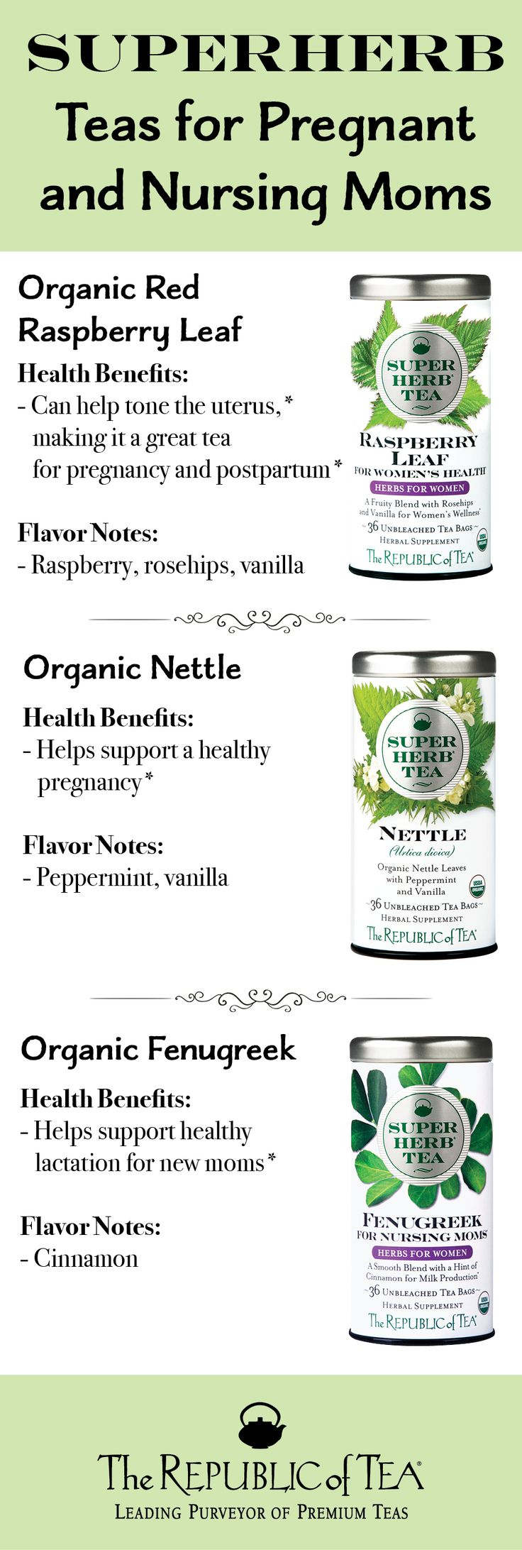 Three great teas for supporting healthy pregnancy and breast feeding journeys! The Republic of Tea blends each SuperHerb with delicious spies so your taste buds will love these teas as much as your body!