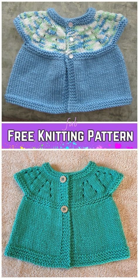 a8d7123ef Baby Girl s All-in-One Sleeveless Sweater Top Cardigan Free Knitting Pattern