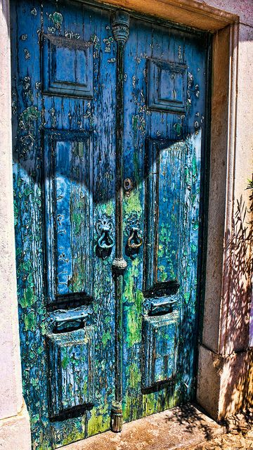 amazing old door. blue green brown
