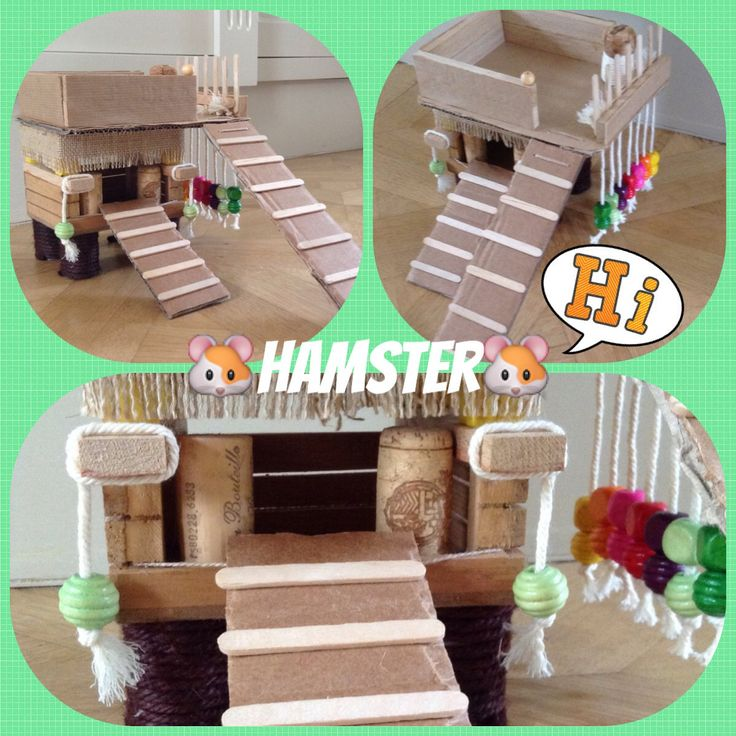 Hamster Toys - Minus what looks to be corks and yarn, because I don't think either of those are safe for hamsters if chewed. I'd use wood and sisal string
