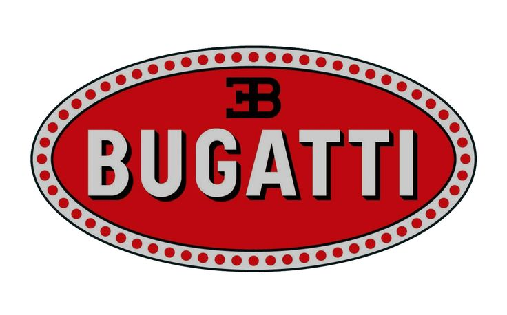 """Bugatti Logo - Logo of one of the most impressive cars to date. Despite their modern look of the cars, the logo stays with a classic look from another era, featuring dots surrounding the oval, with the text """"Bugatti"""" and their simplified brand mark inside. The colors and arrangement make this logo easily recognizable."""