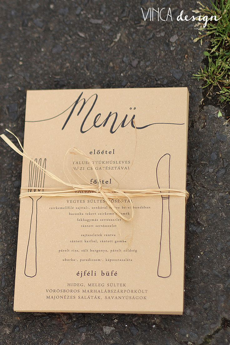 Vinca Design, wedding menu, wedding stationery, rustic wedding, natural wedding, recycled paper // menükártya, esküvői menükártya, rusztikus esküvő, natúr esküvő, újrahasznosított papír