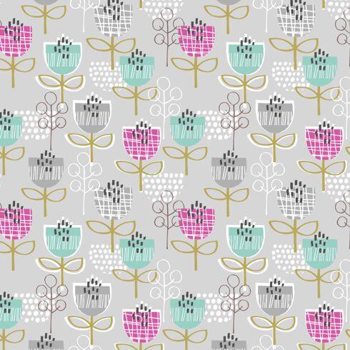 """Tulips on Grey"" Floral Fabric by Dashwood Studio"