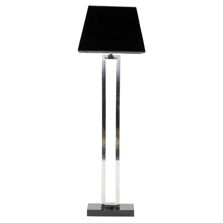 Flott og klassisk stålampe i rustfritt stål med sort skjerm og granitt base.    47x47xH175cm