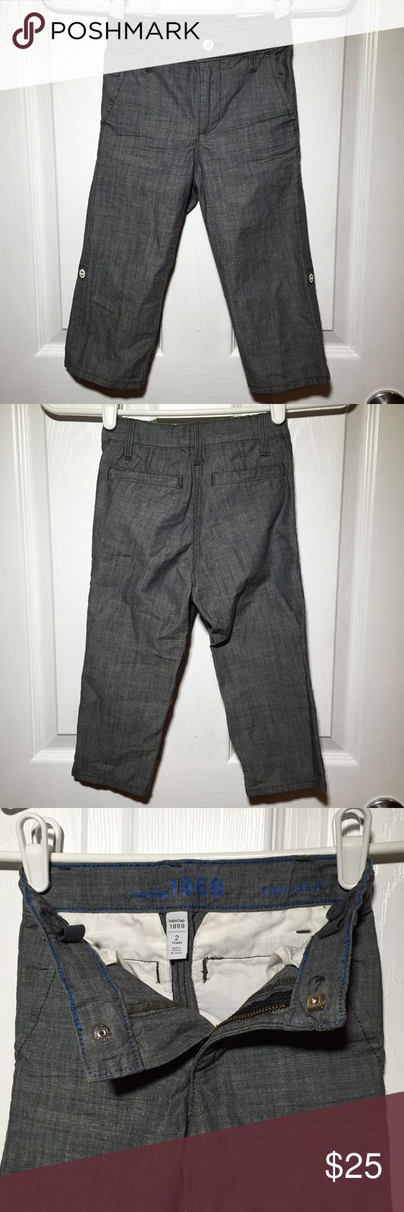 Toddler GAP Trouser 2t GAP Trouser. Grey chambray. Can wear rolled up or down. Clasp fly. Adjustable waist. Never worn. GAP Bottoms Formal